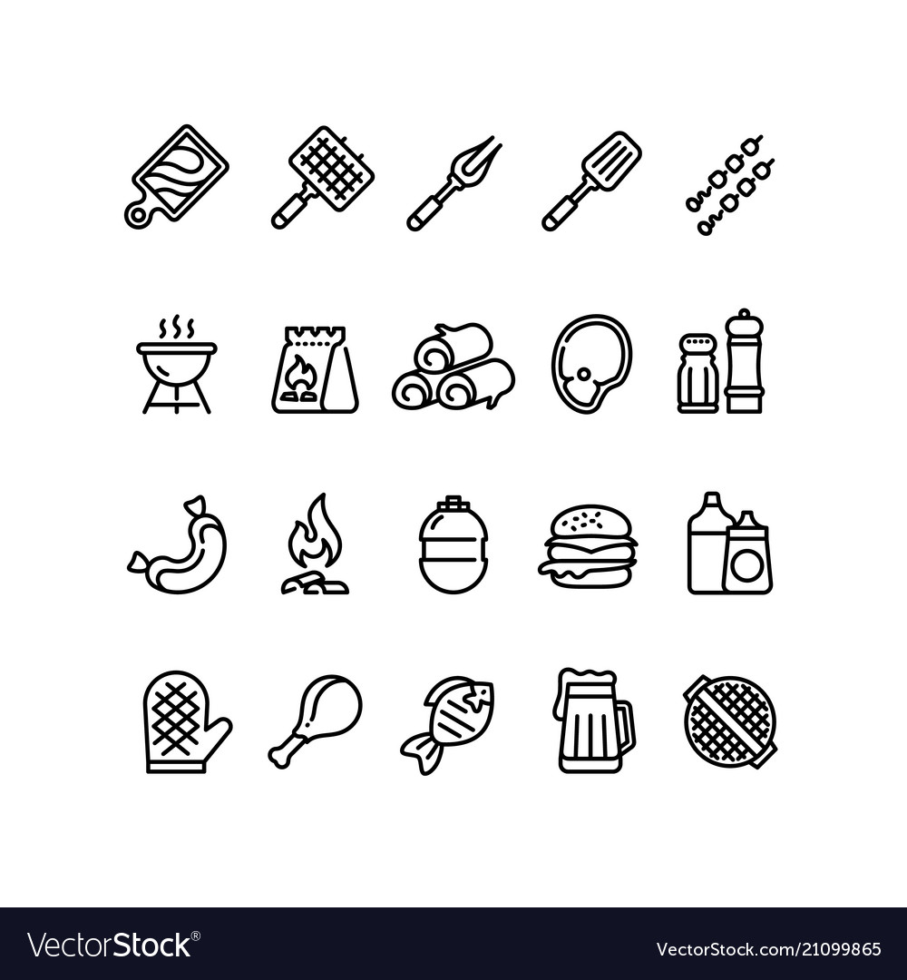 Hot barbecue and grill line icons bbq outdoor