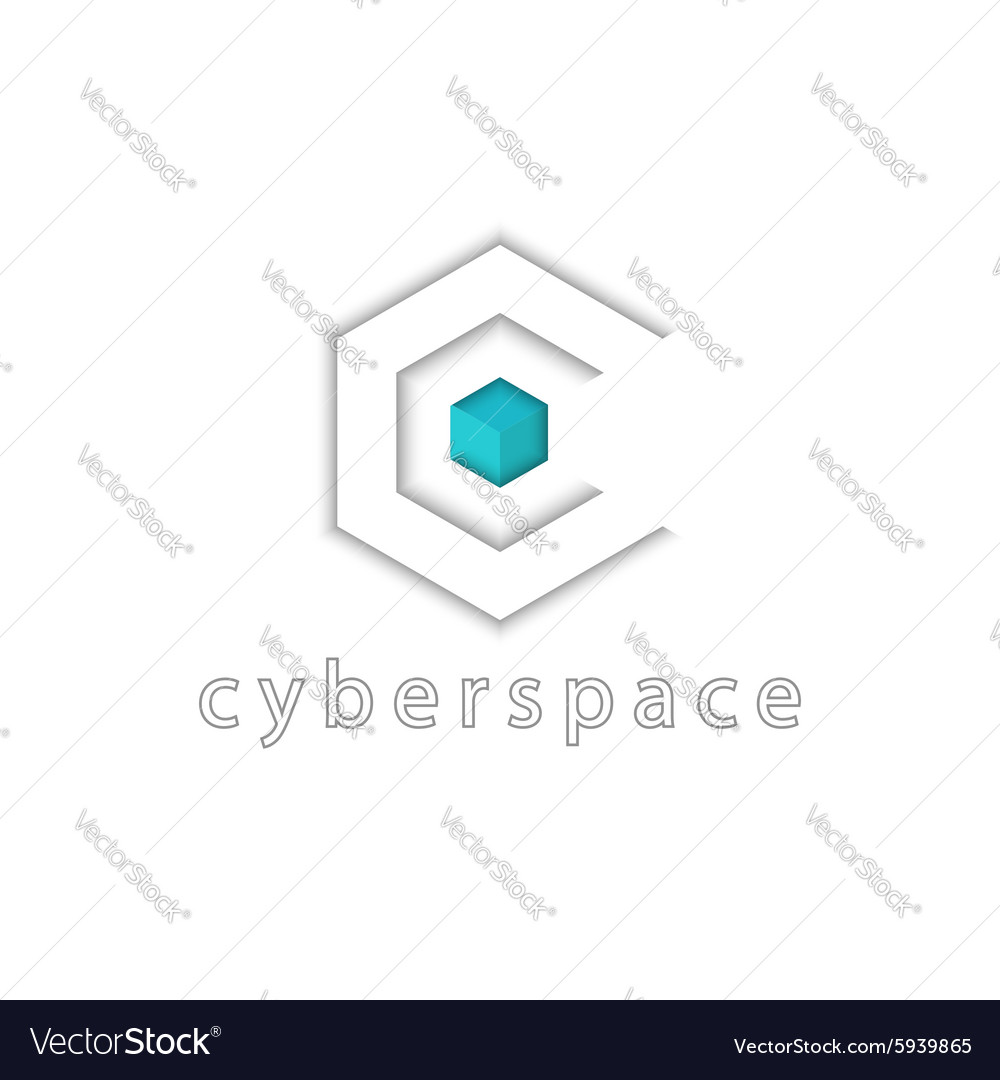 Letter C logo tech 3D cube and hexagon graphic vector image