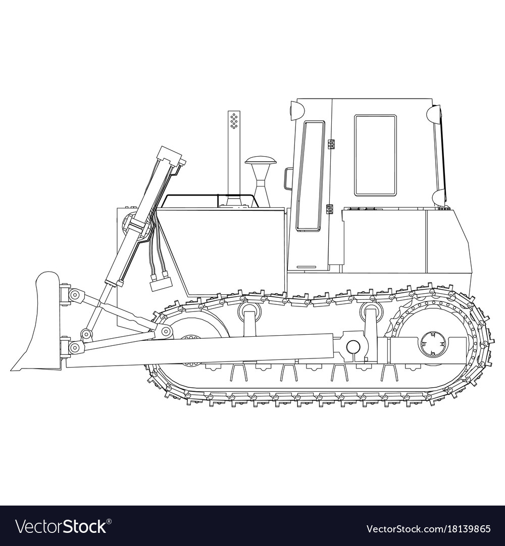 Outline Bulldozer Construction Icon Excavator Vector Image