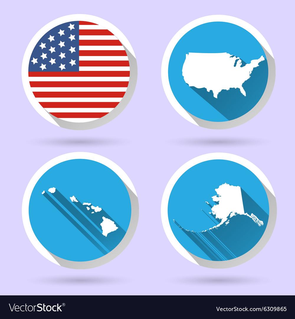 Set usa country shape with flag