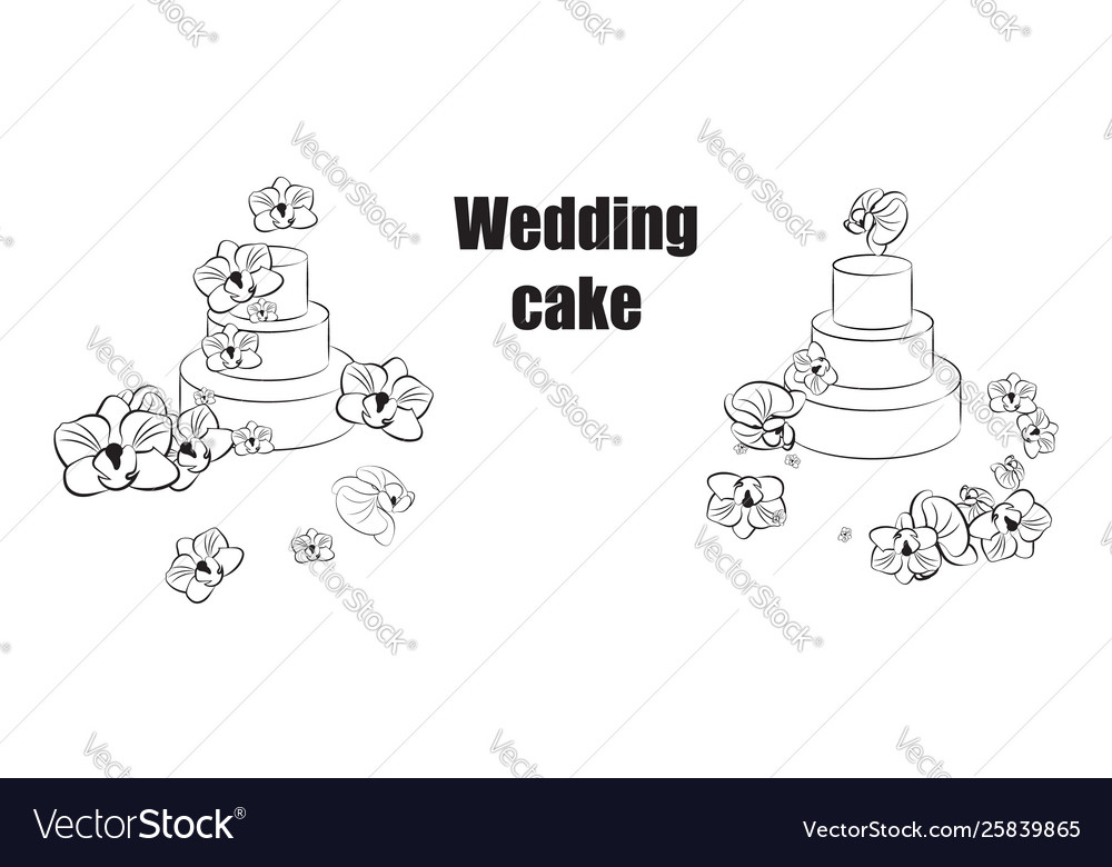 Sketch trending wedding cakes with floral
