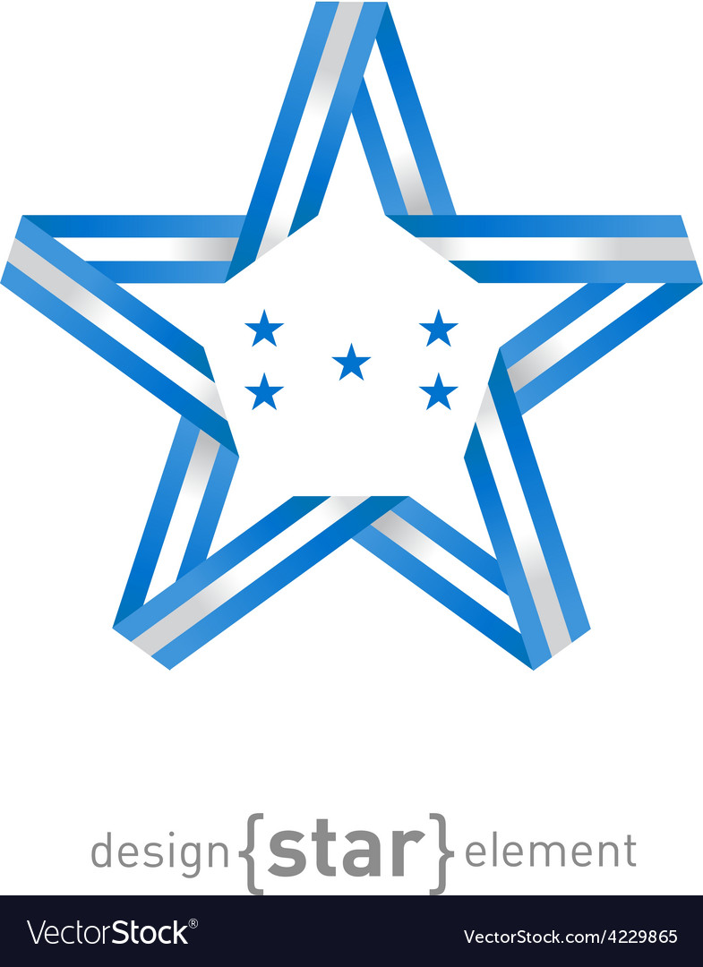 Star with Honduras flag colors and symbols design