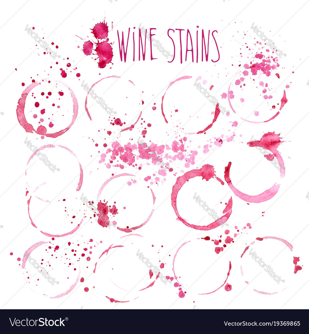 Wine stains watercolor wine
