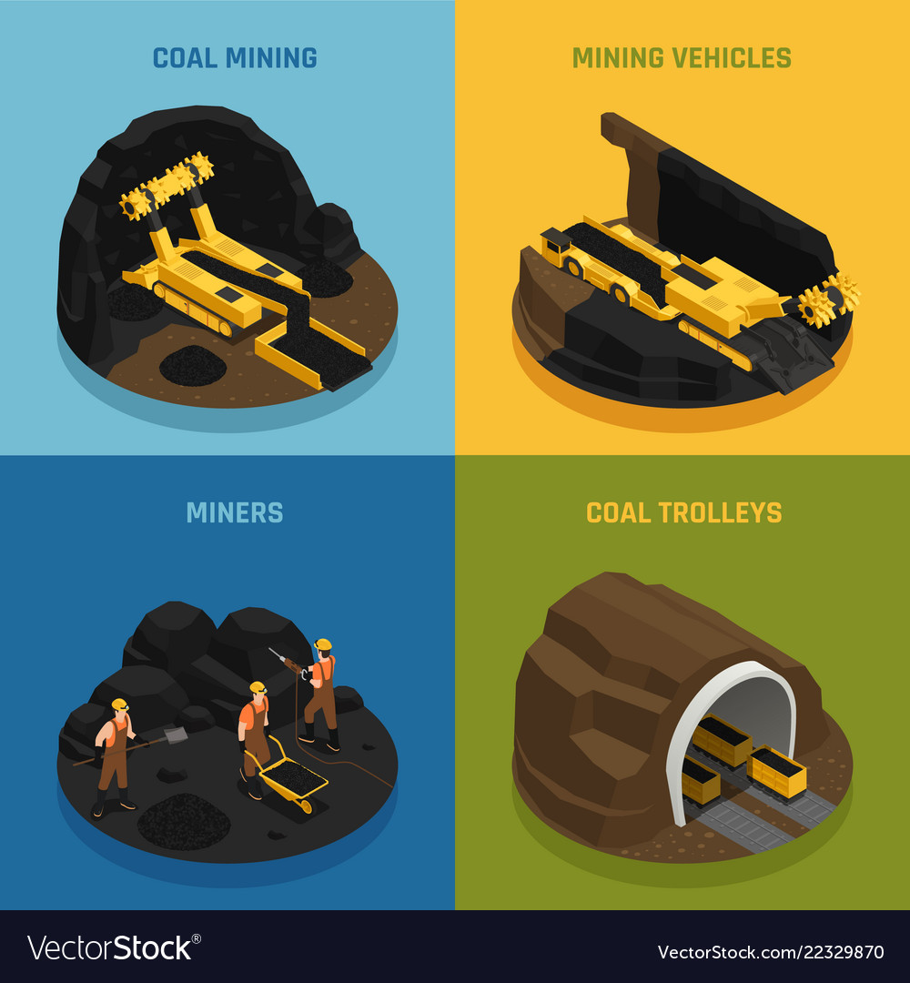 Coal mining isometric design concept