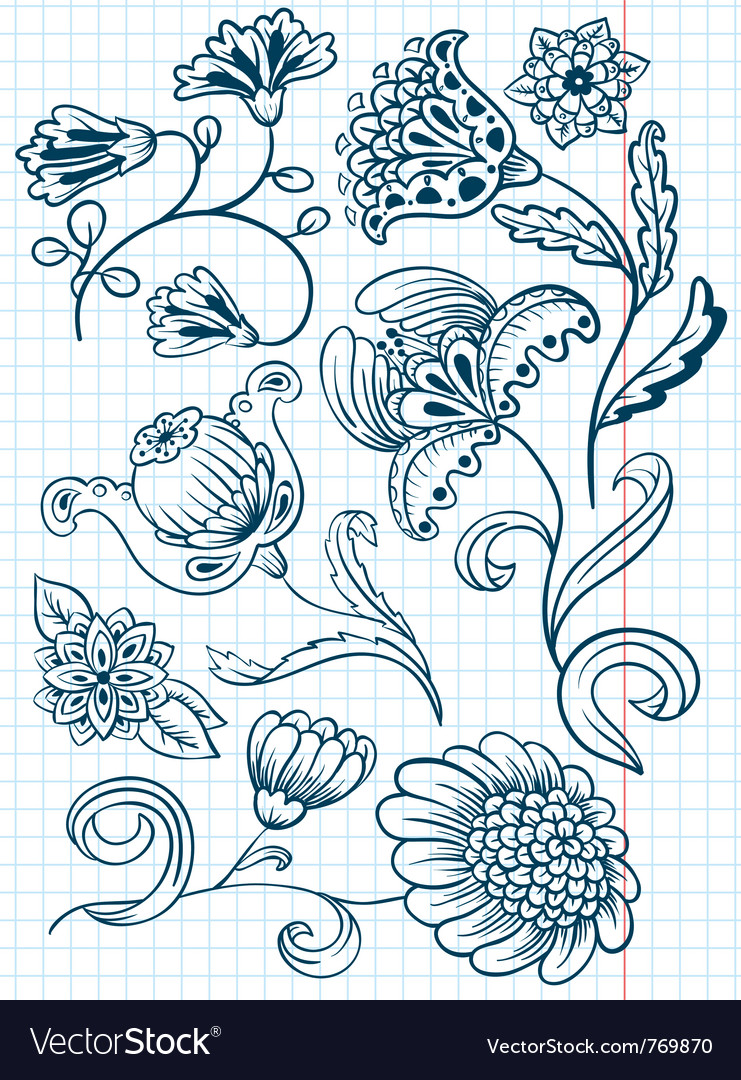 Floral abstract doodle set vector image