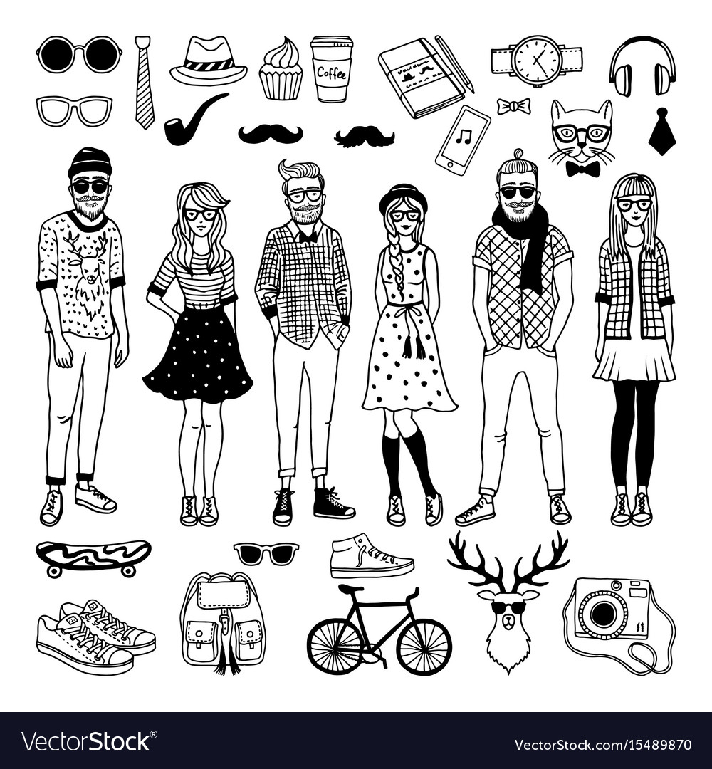 Funny hipster characters with funky fashioned