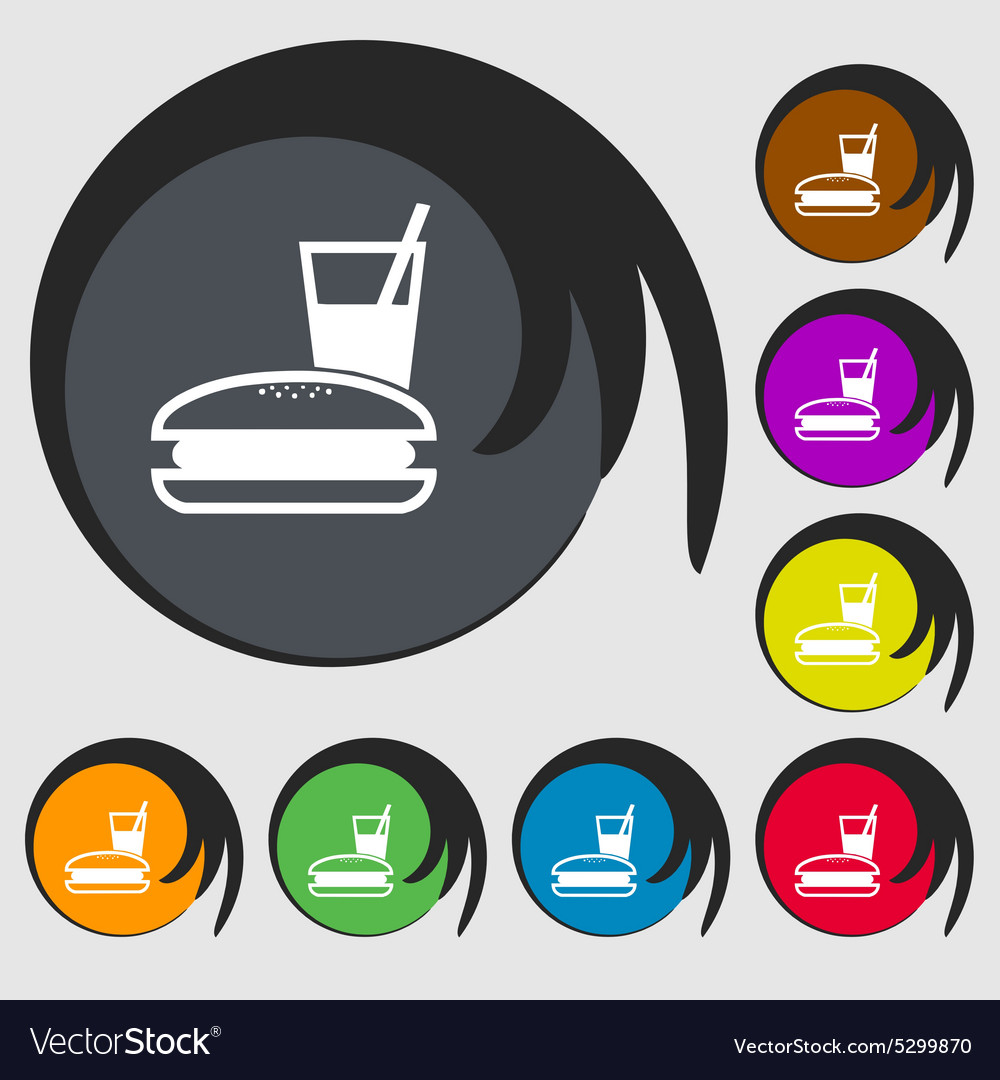 Lunch box icon sign Symbol on eight colored vector image