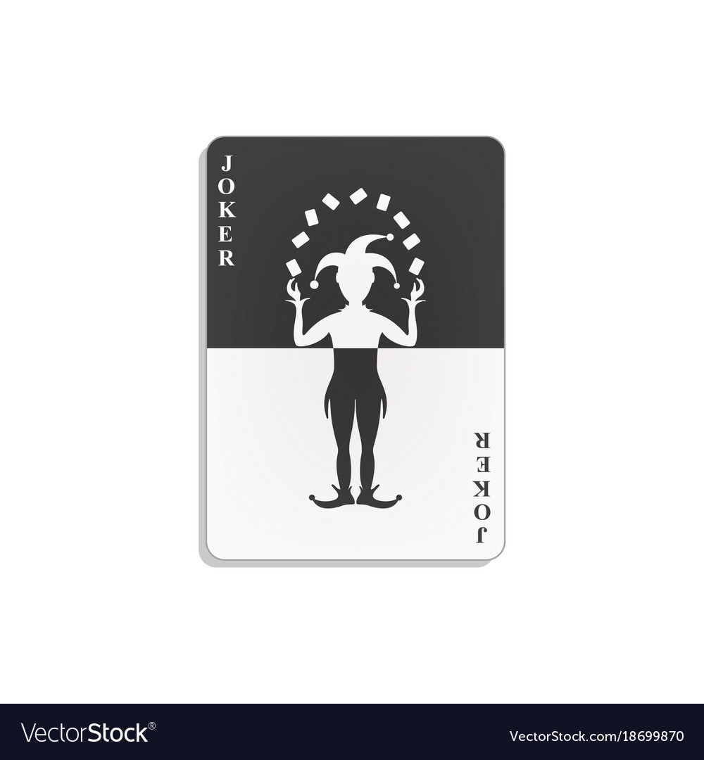 Playing card with joker in black and white design vector image