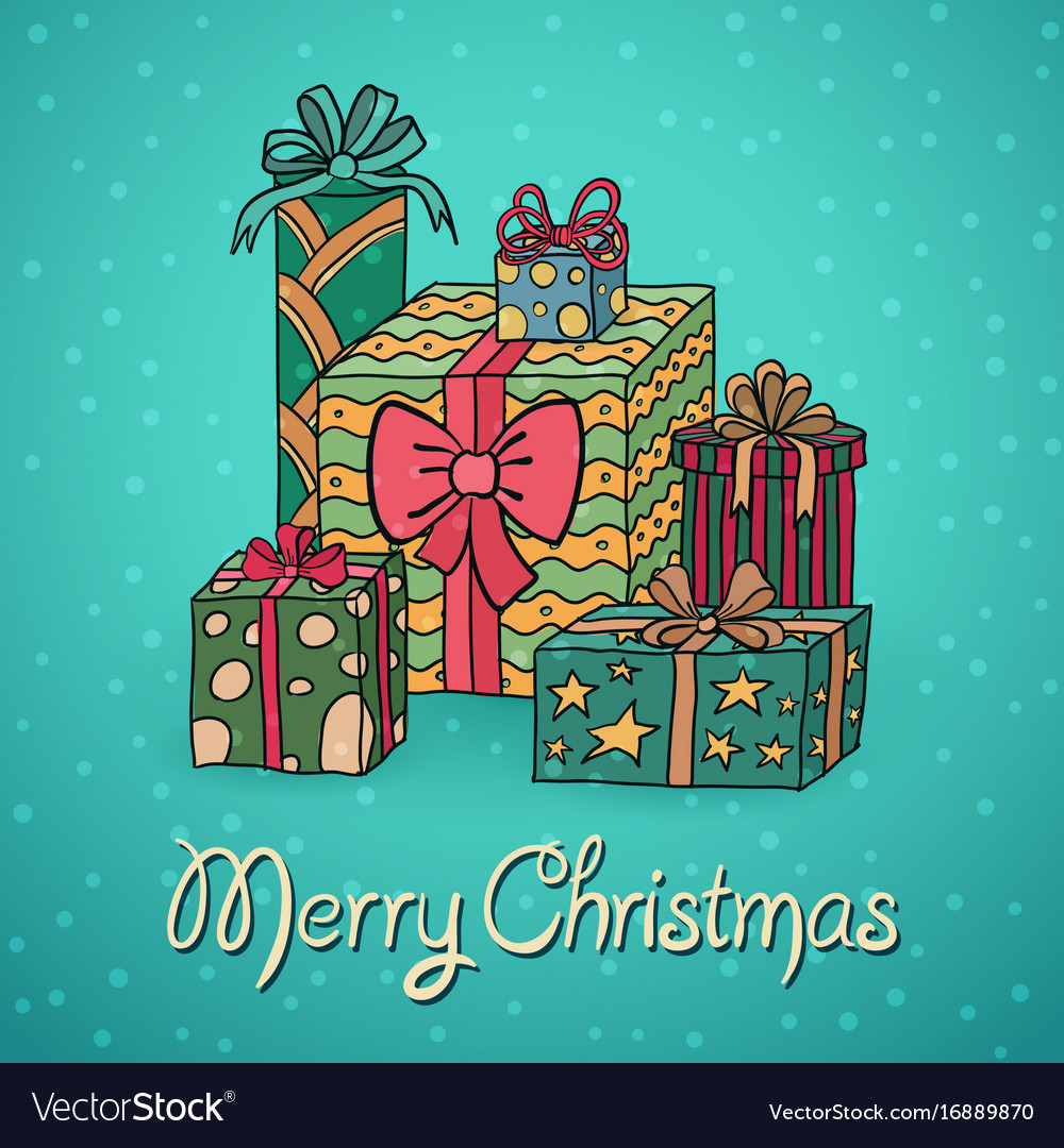 Set of cartoon christmas gifts Royalty Free Vector Image