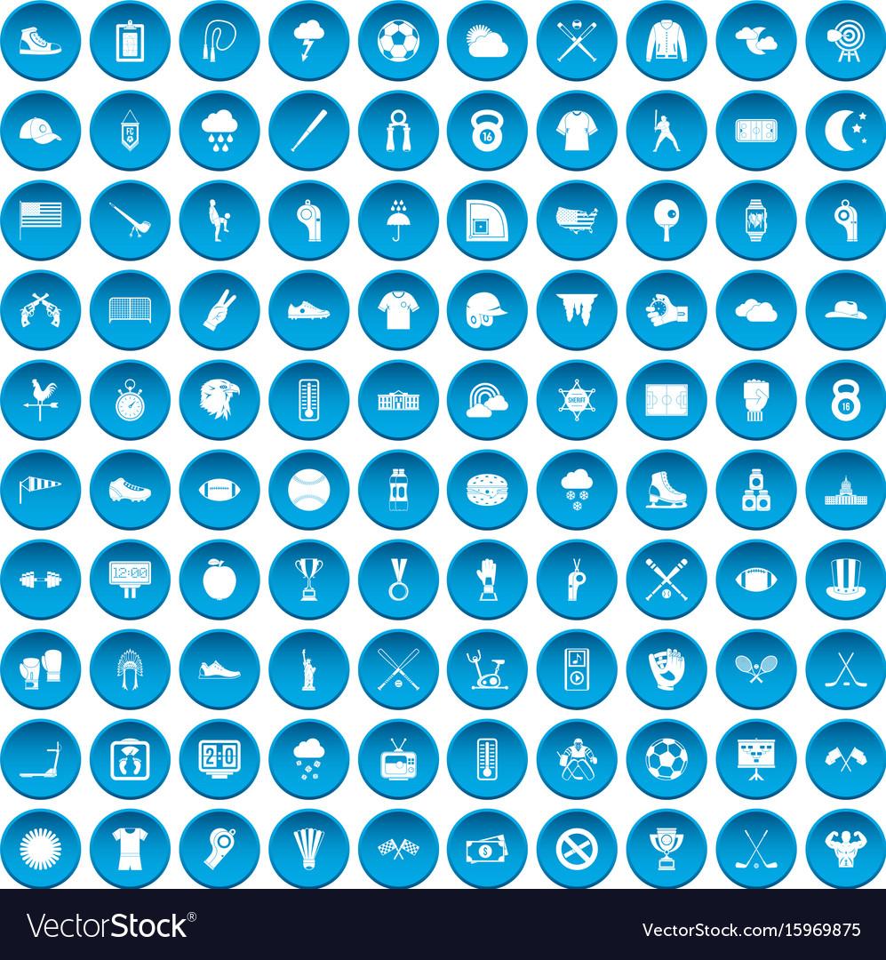 100 baseball icons set blue