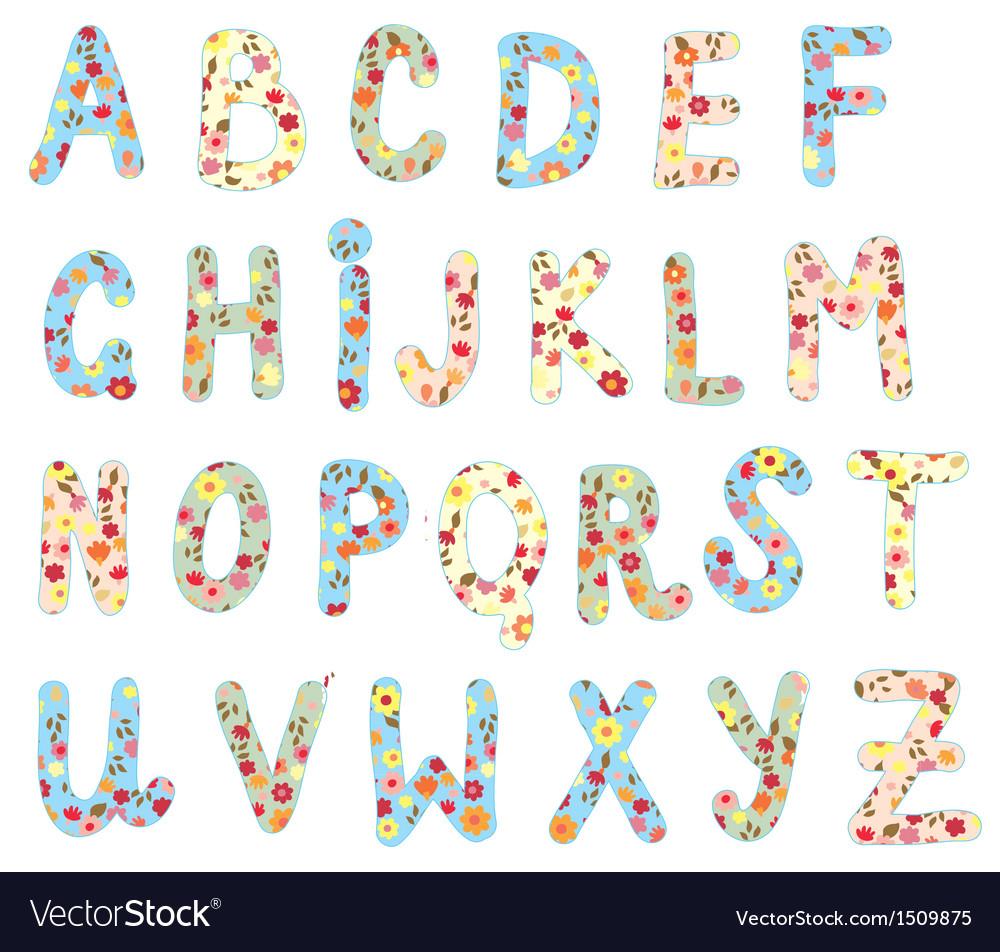 Alphabet floral set vector image