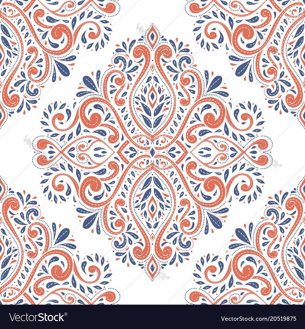 Blue and orange antique floral