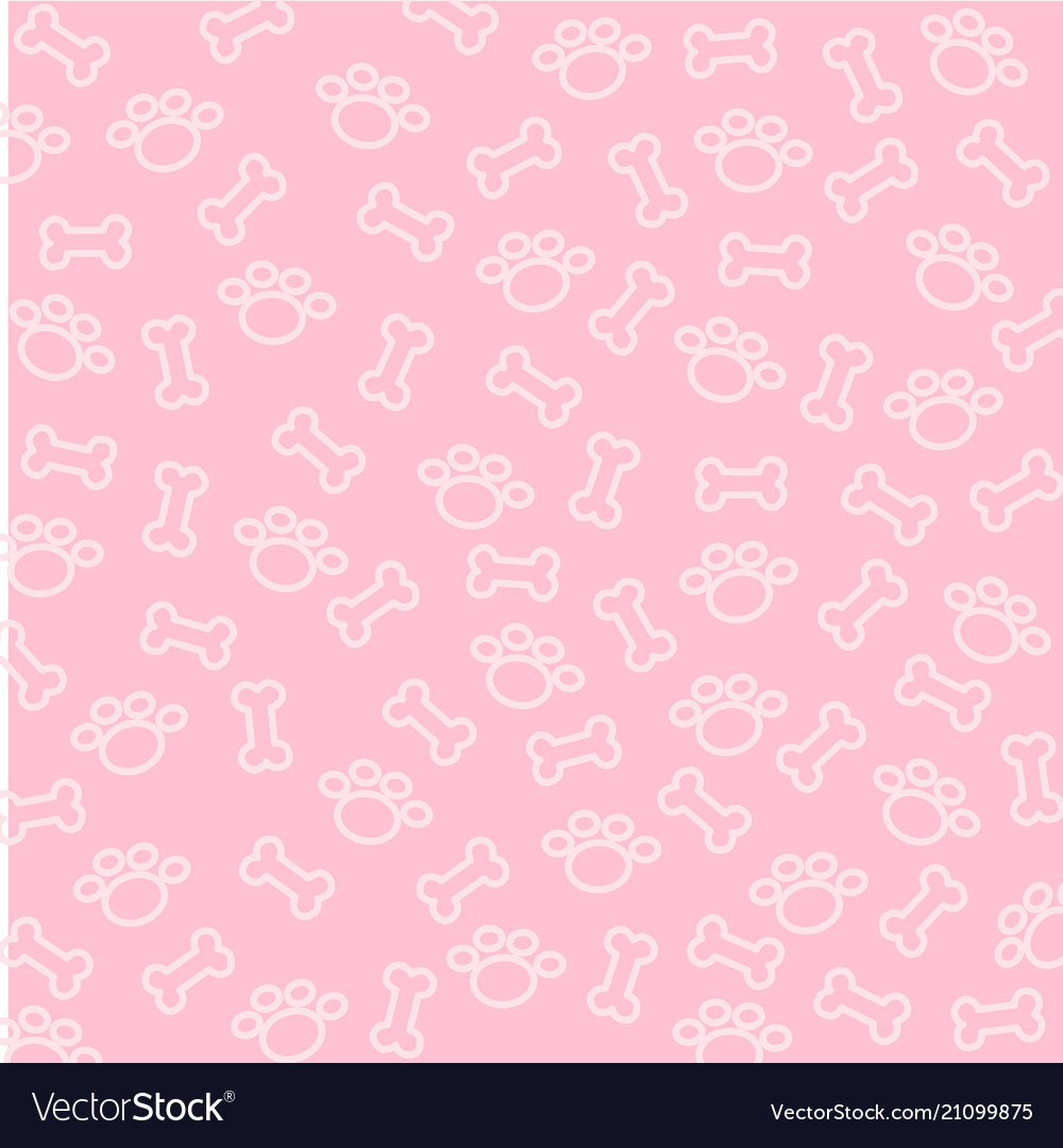 Bone And Spoor Of Dog Wallpaper On Pink Background