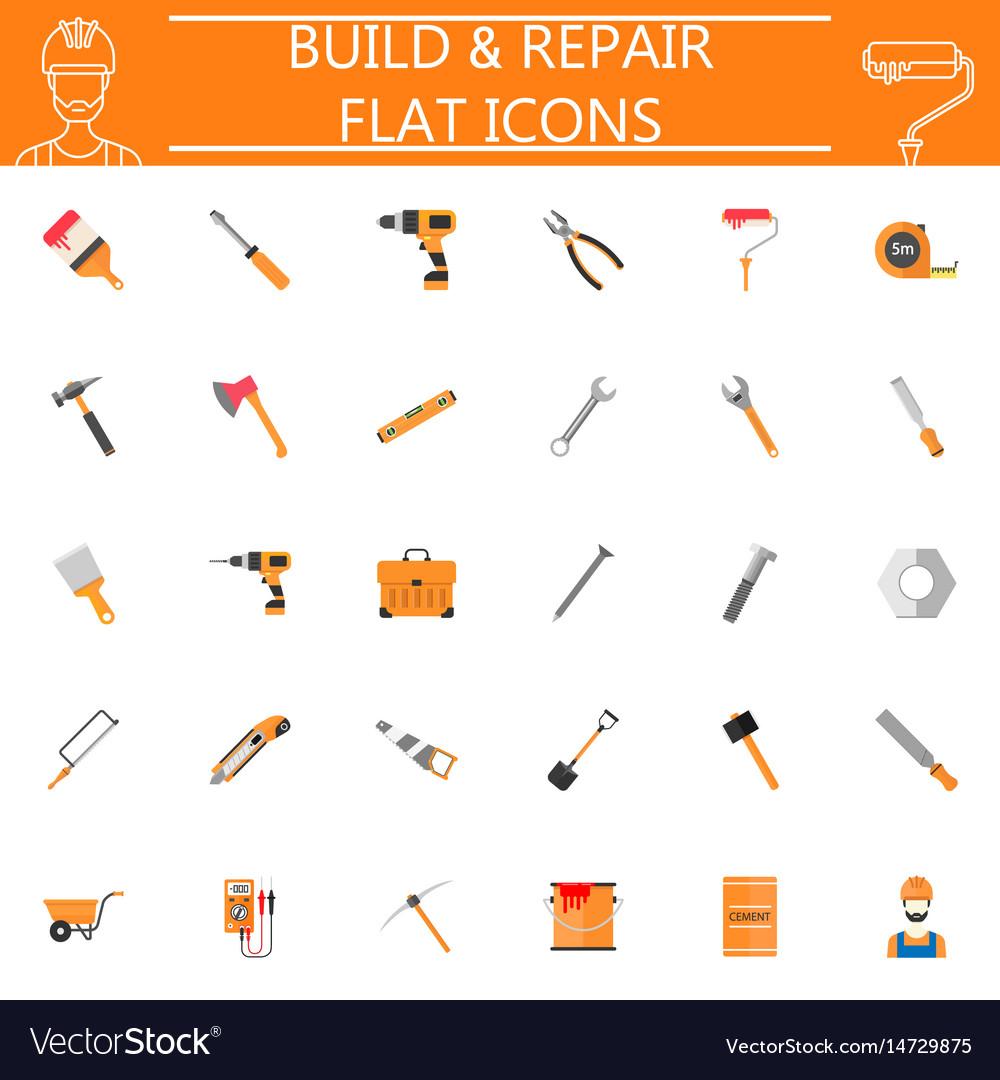 Build and repair flat icon set