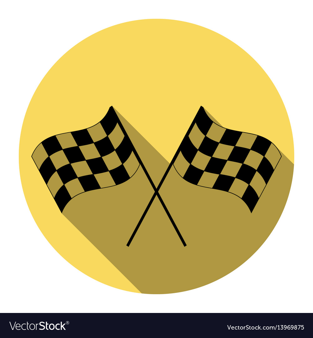 Crossed checkered flags logo waving in the wind