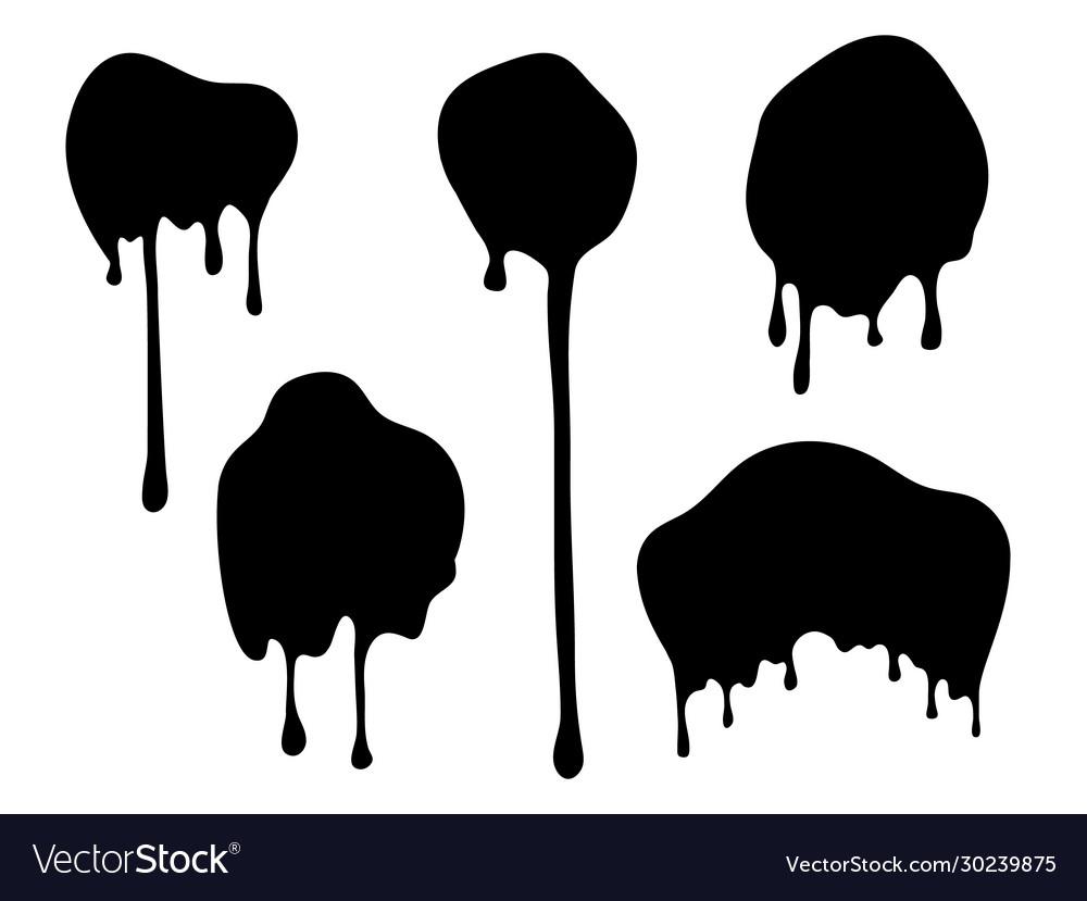 Dripping blobs black ink drops flat paint spots