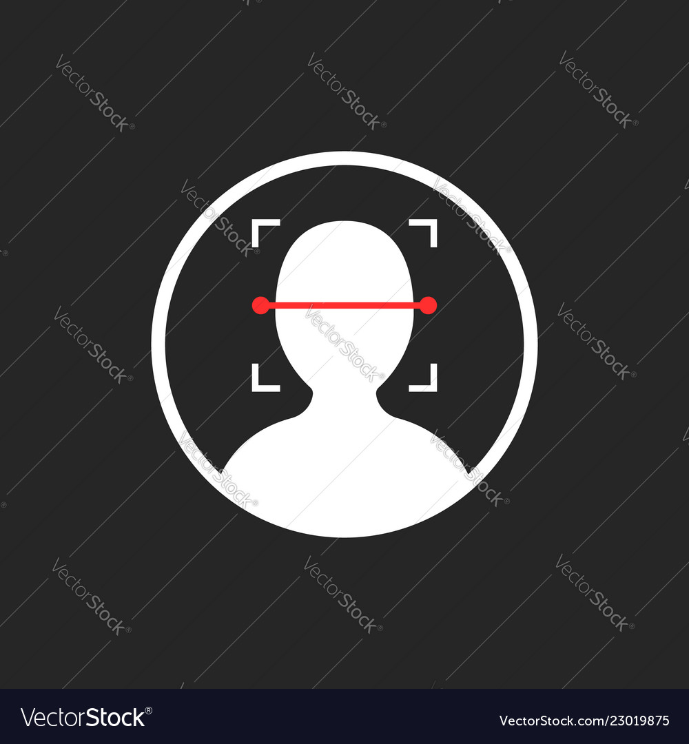 Face id scanner icon isolated on black