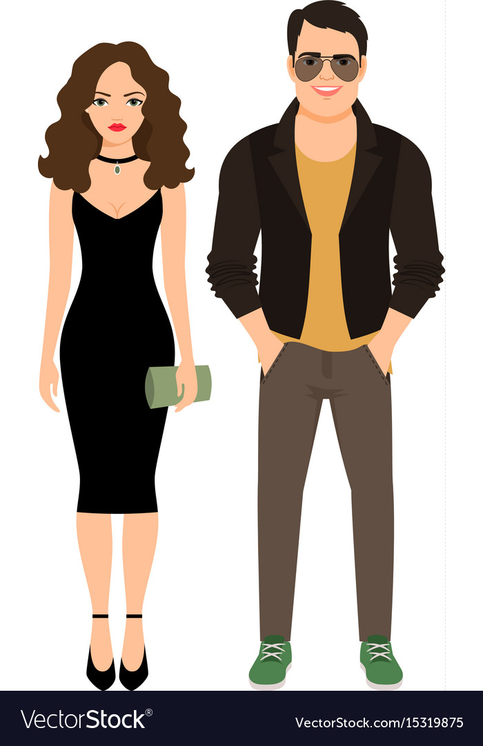 Fashionable couple isolated icon vector image