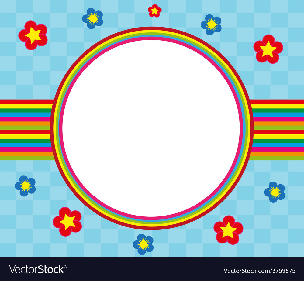 Floral and decorative rainbow frame Royalty Free Vector