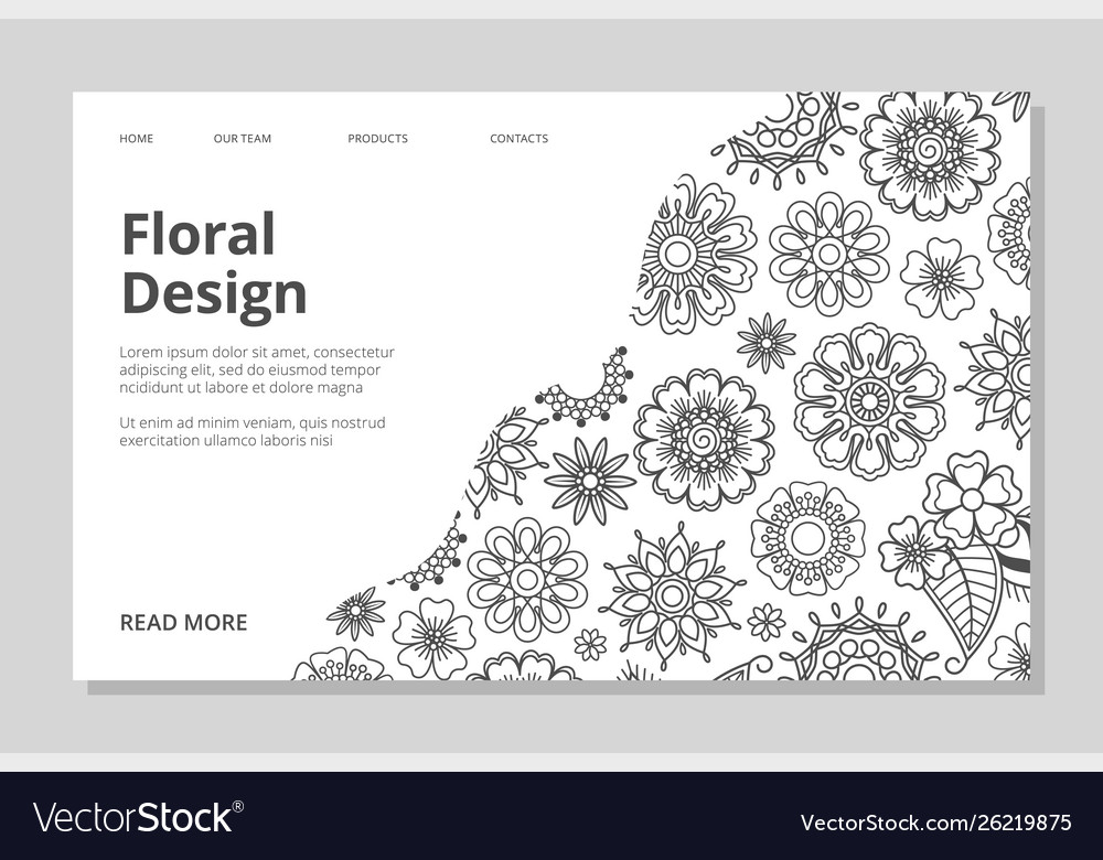 Floral landing page hand drawn line