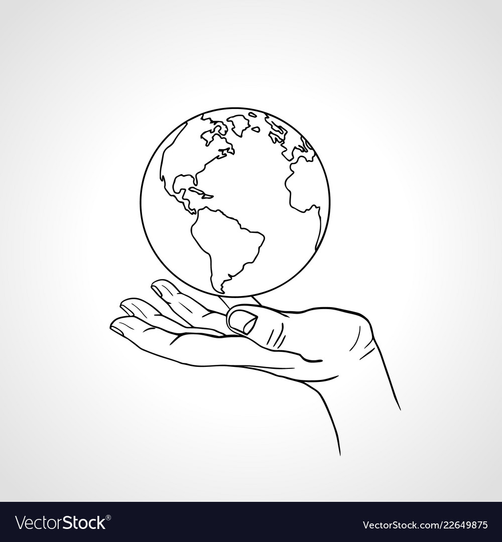 Hand holding the earth palm hold the globe