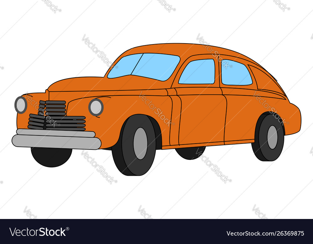 Red retro car on white background