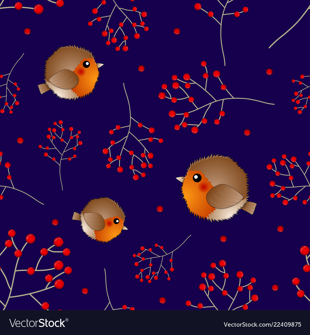 Red robin bird and berry on navy blue background