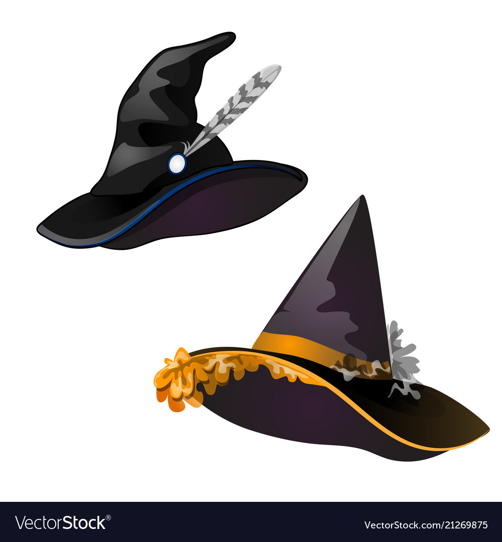 Set black witch hat sketch for greeting card