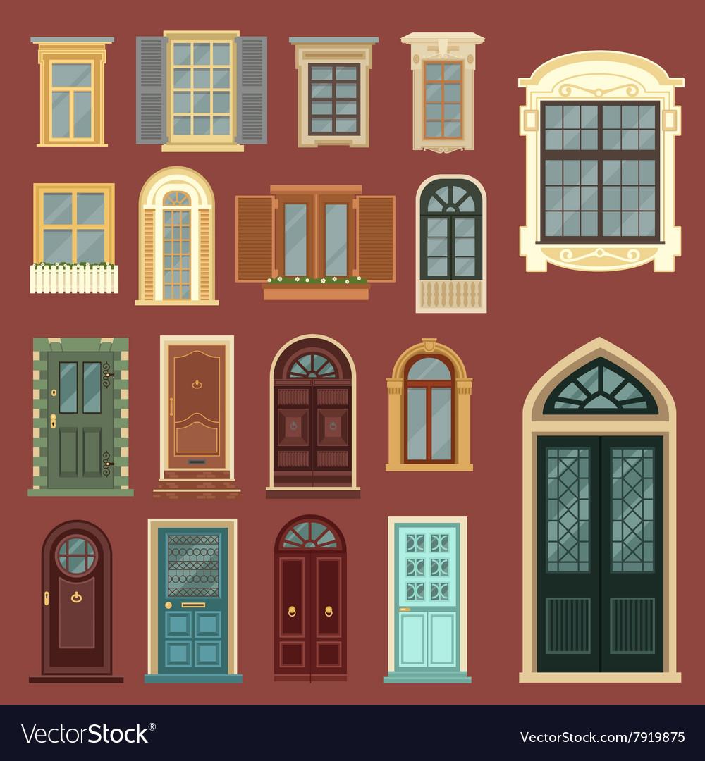 & Set of European Vintage Doors and Windows Vector Image