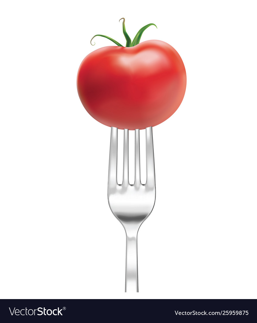 Silver fork with tomato 3d