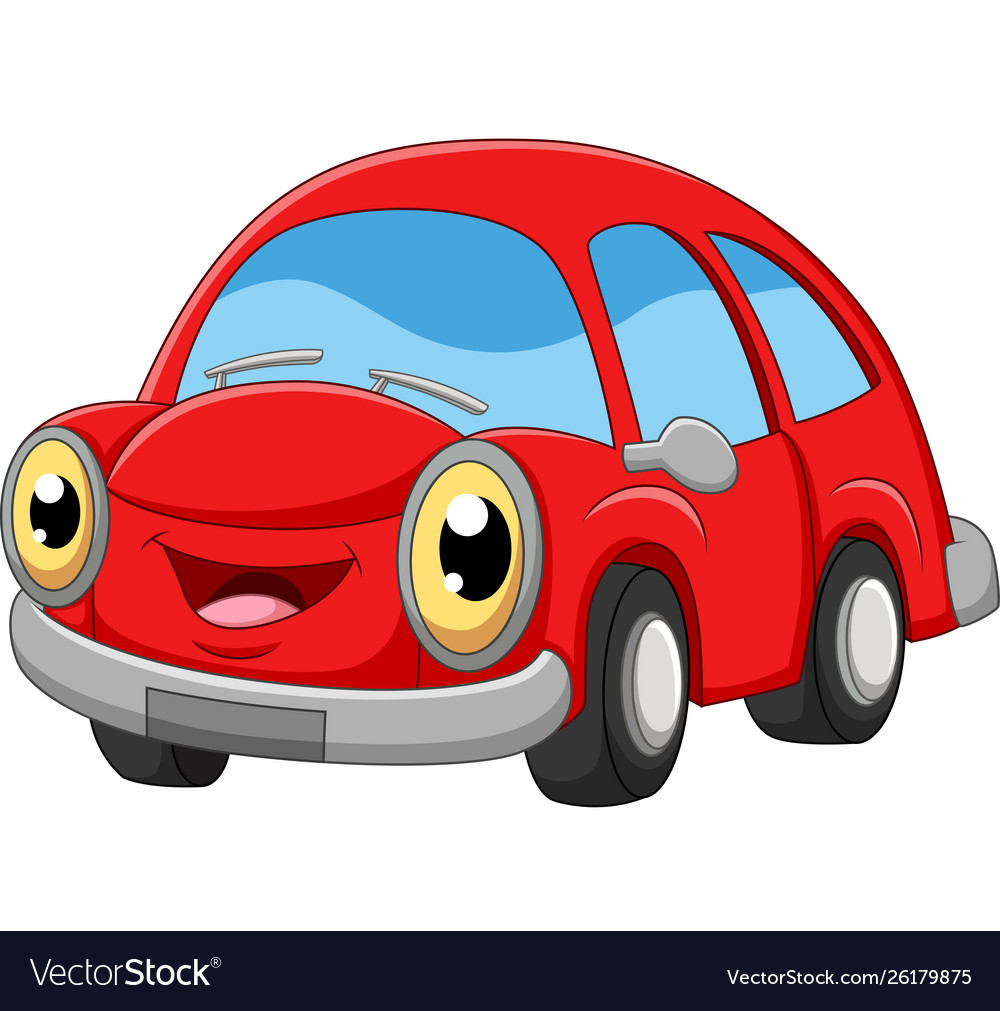 Smiling red car cartoon on white background