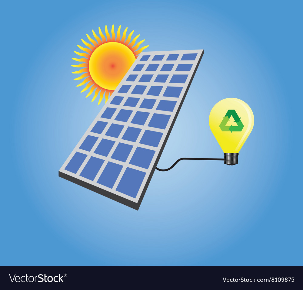 Solar panel isolated with sun and light bulb