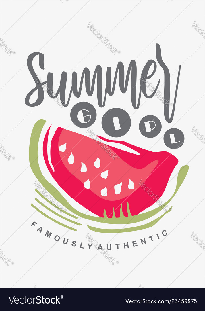 Tee shirt print template with watermelon graphic