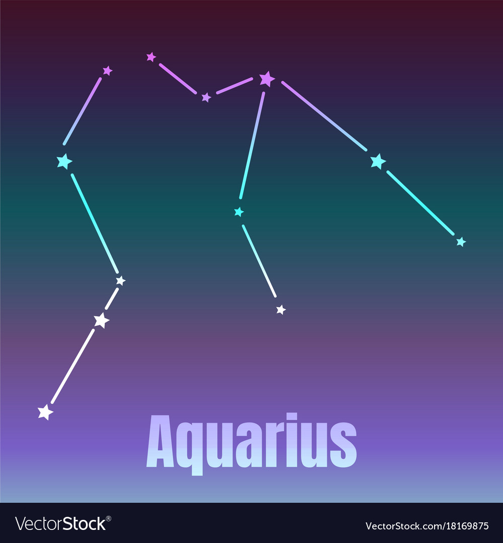 The Water Bearer Aquarius Sing Star Constellation Vector Image