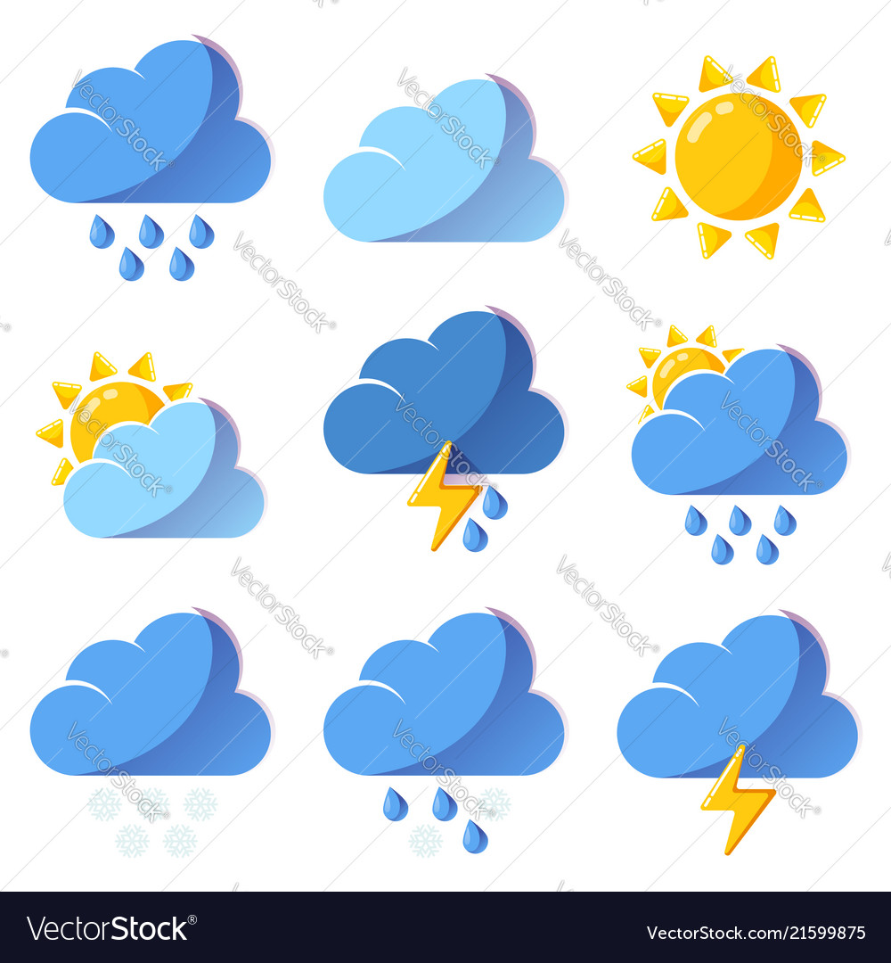 Weather icons forecast colorful icons set