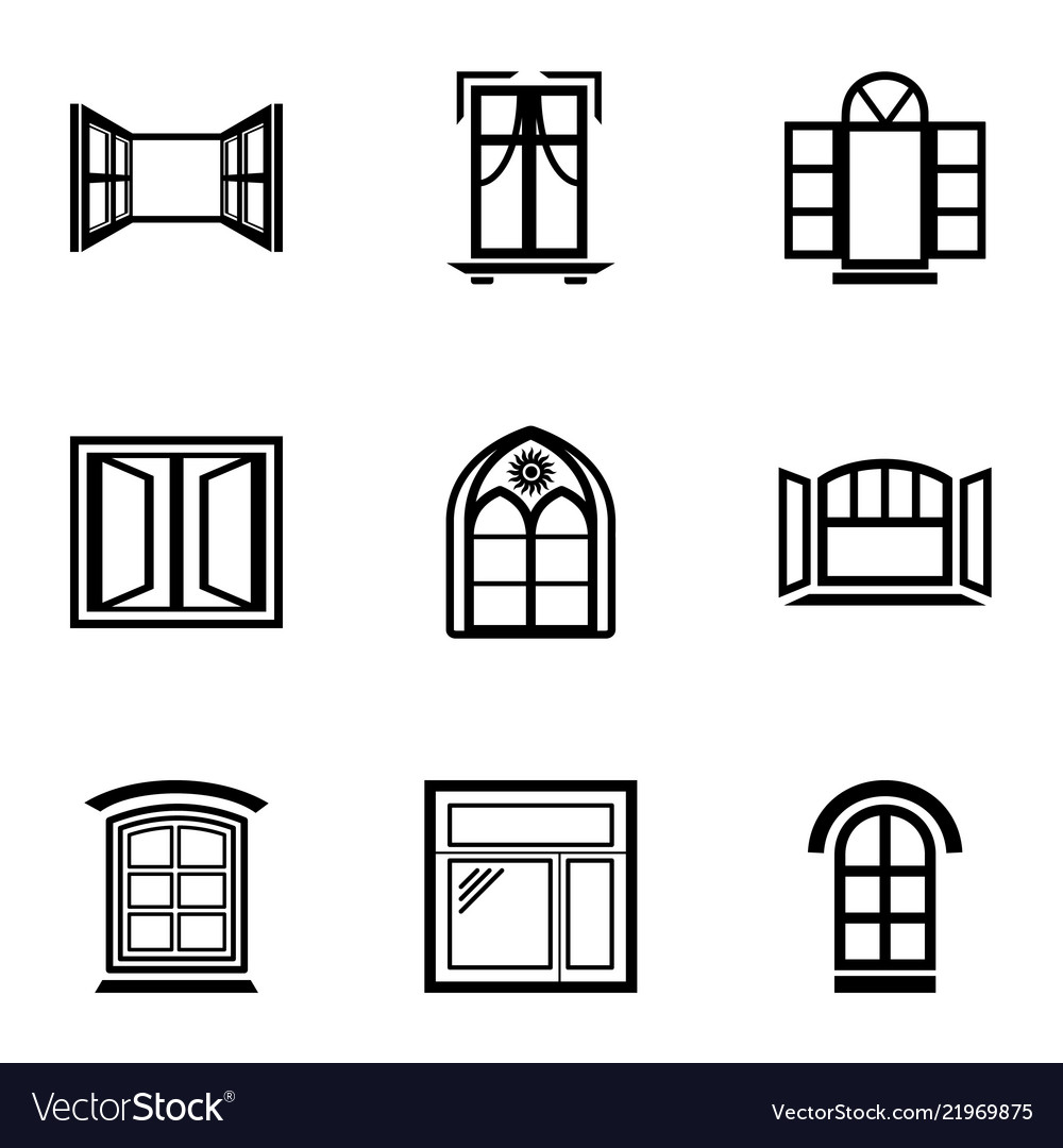 Window frame icons set simple style