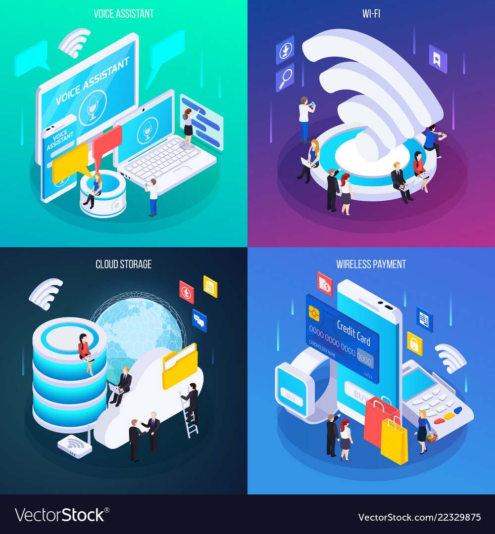 Wireless technology isometric concept