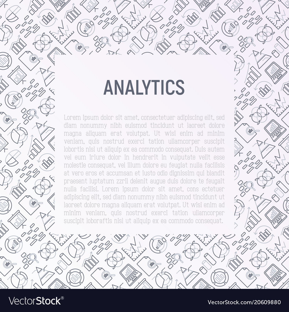 Analytics concept with thin line icons
