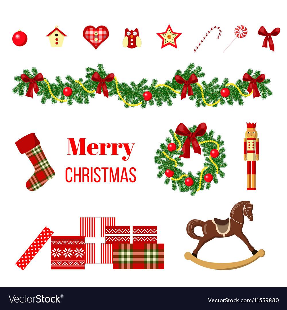 Big christmas set vector image