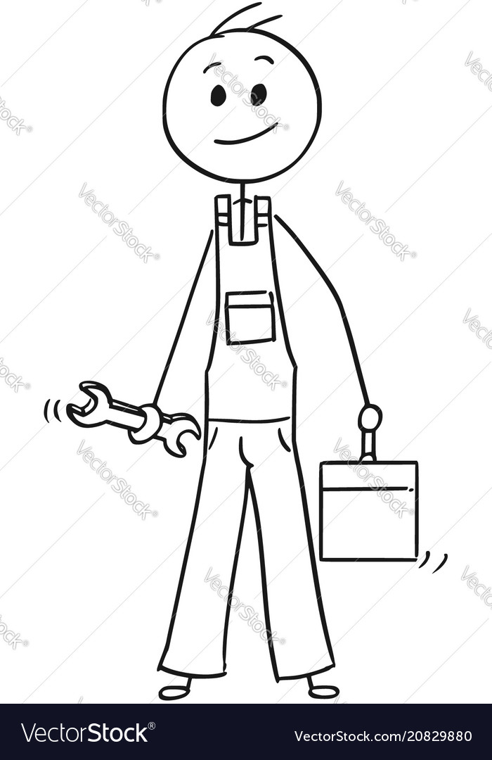 Cartoon of male worker with wrench and tool box