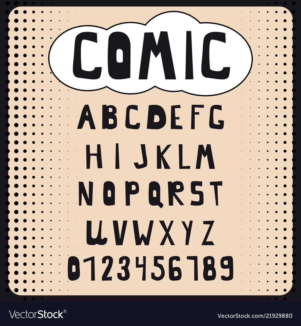 Comic cartoon alphabet set letters numbers for