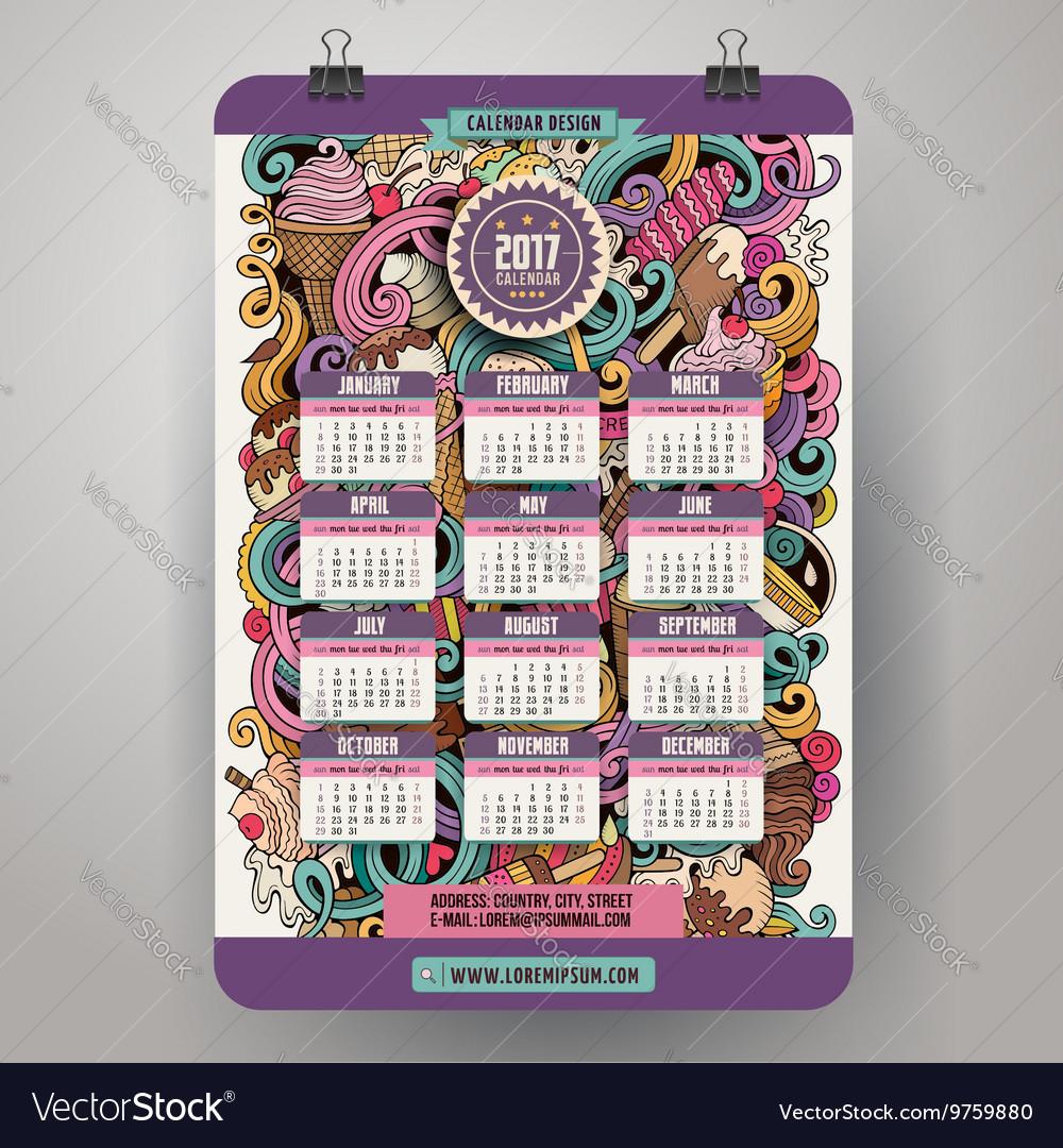 Doodles cartoon ice cream Calendar 2017 year vector image