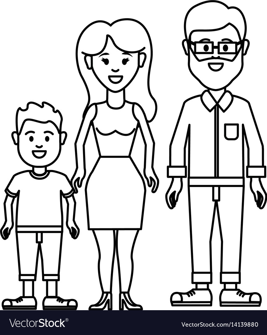 Figure couple with their son icon
