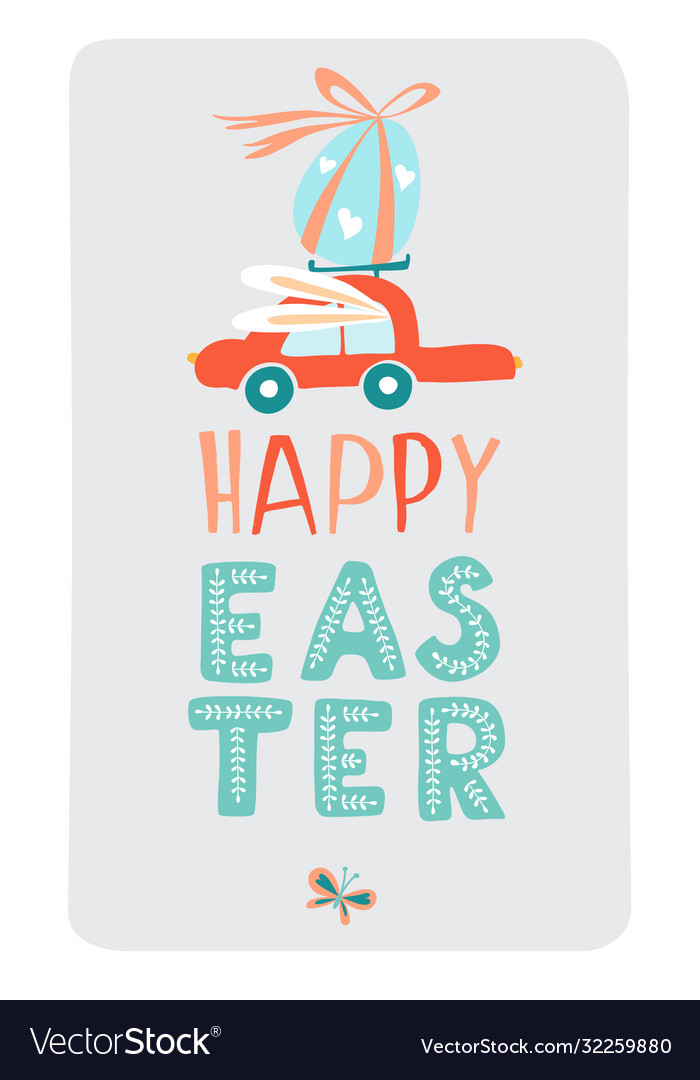 Funny cute colorful greeting happy easter card