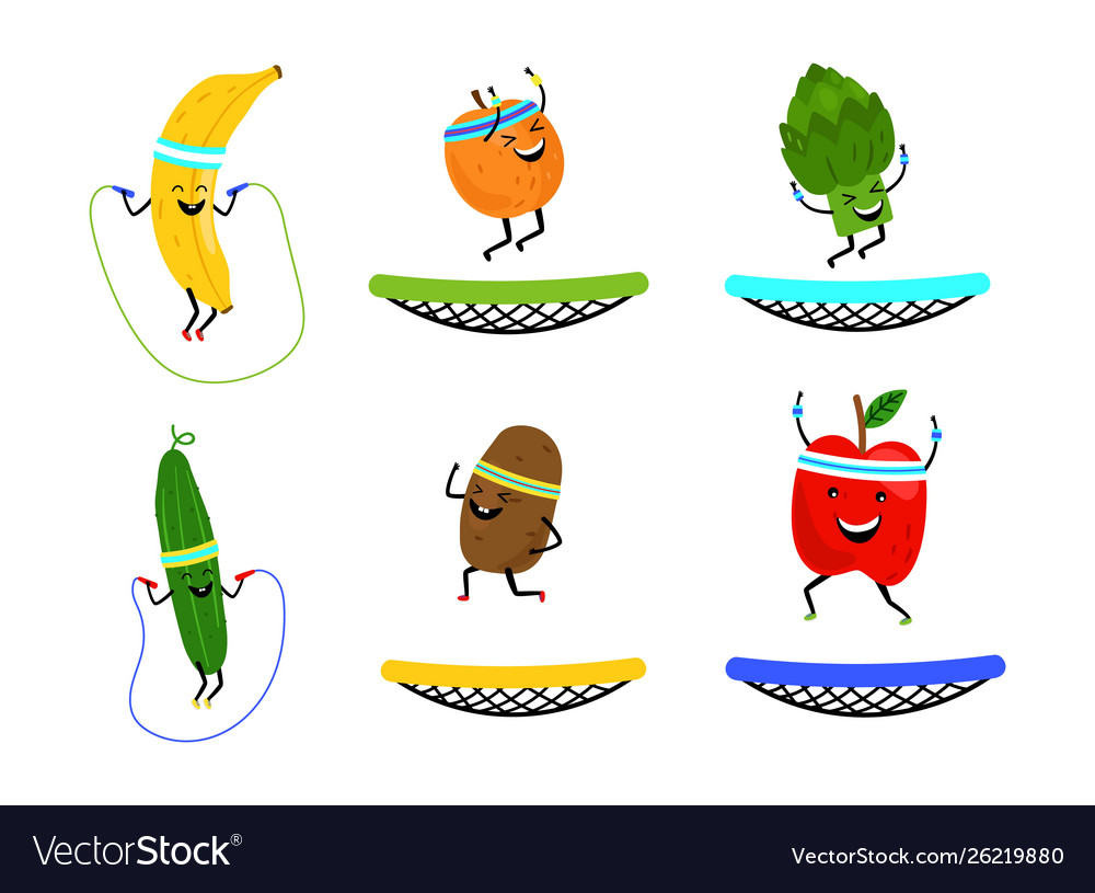 Happy jumping fruits and vegetables