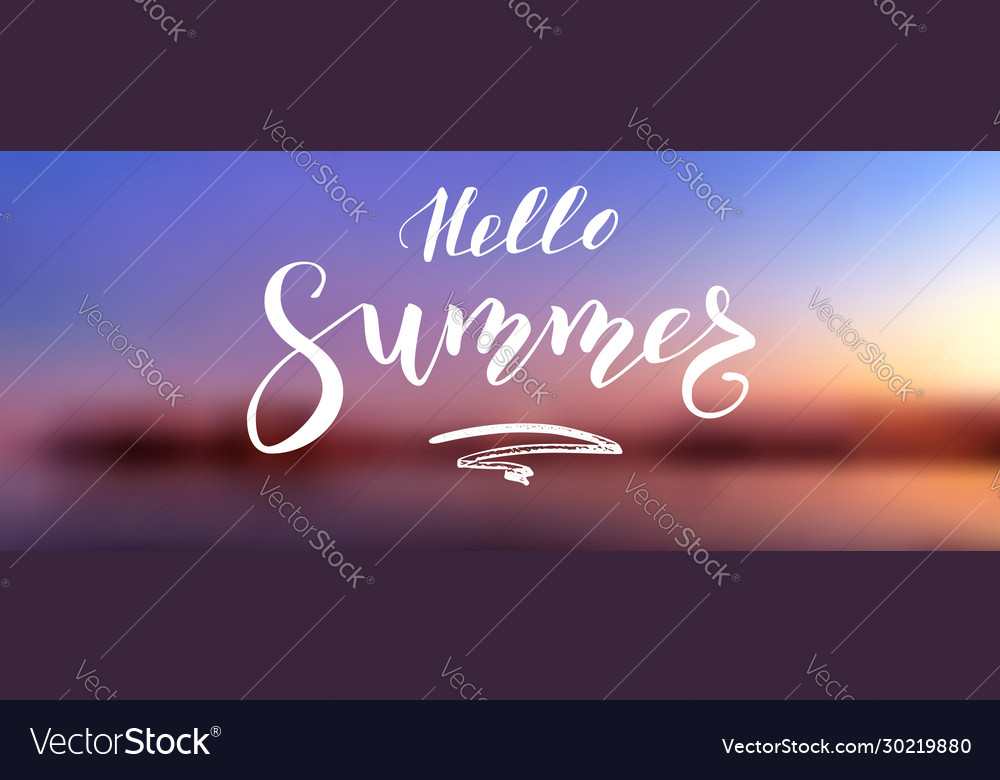 Hello summer calligraphy lettering on background