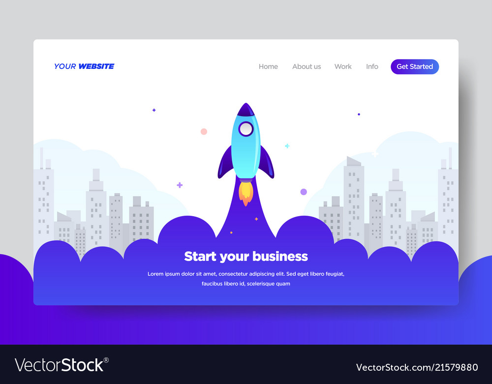 Landing page template of startup business vector image flashek Image collections