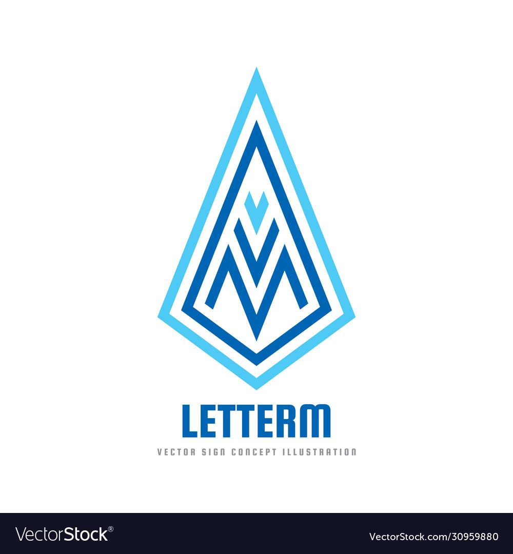 M letter - logo template concept