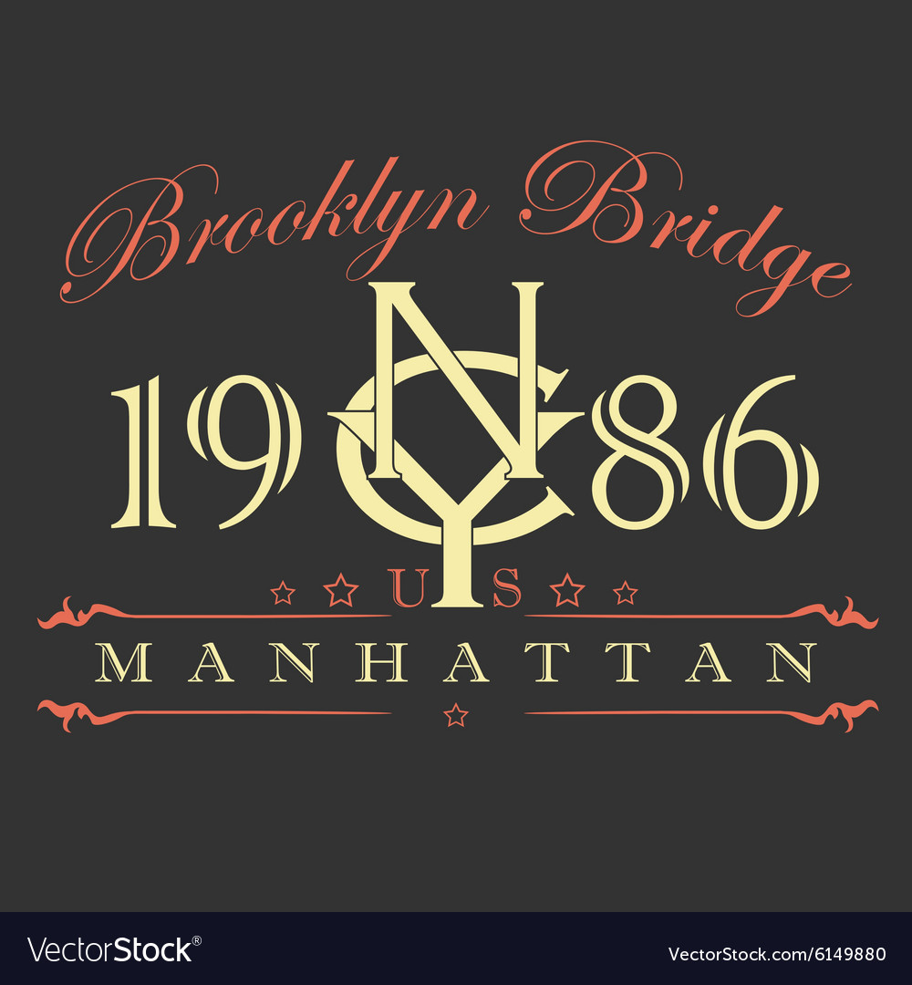 Manhattan T Shirt Design Royalty Free Vector Image