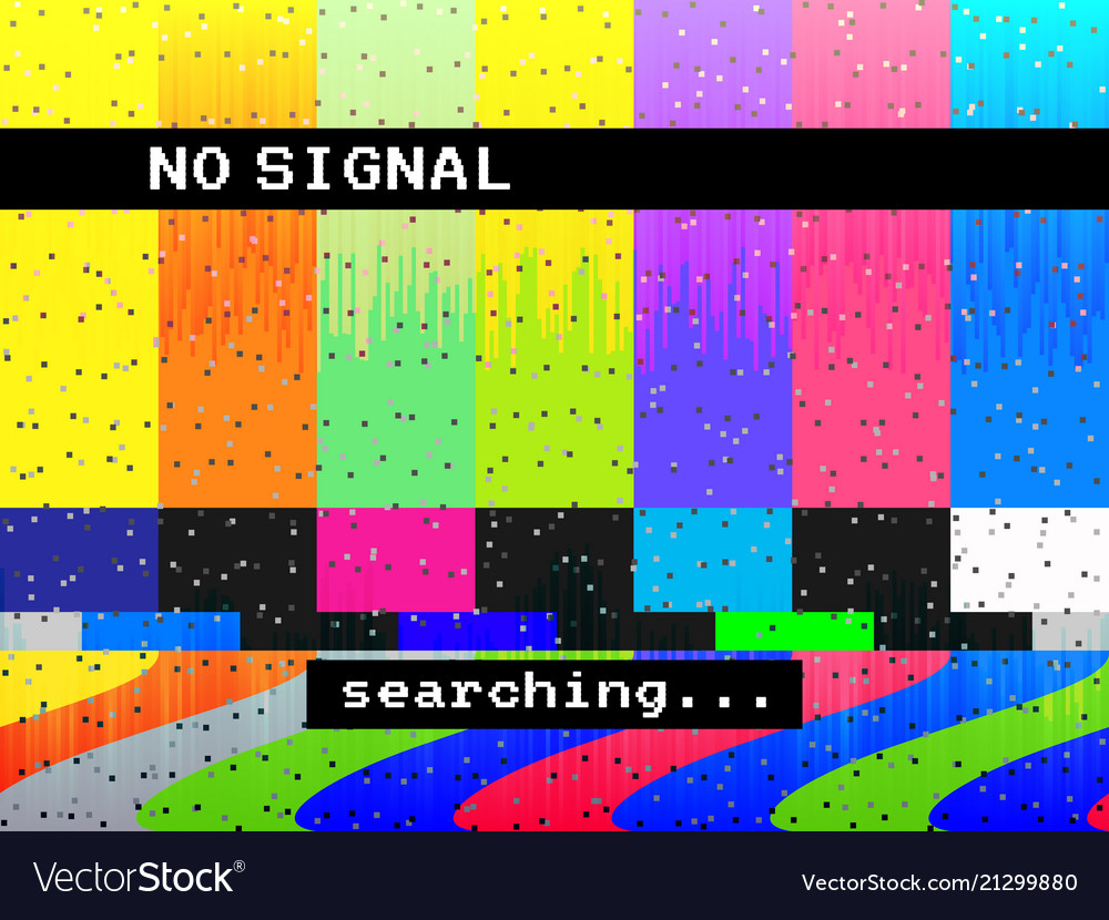 No signal glitch tv distorted color lines